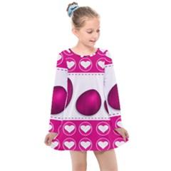 Love Celebration Easter Hearts Kids  Long Sleeve Dress