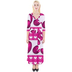 Love Celebration Easter Hearts Quarter Sleeve Wrap Maxi Dress