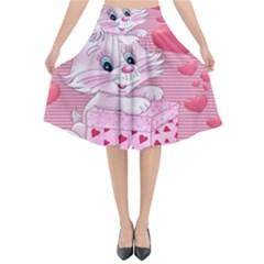Love Celebration Gift Romantic Flared Midi Skirt