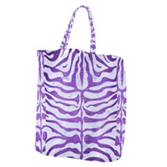 Skin2 White Marble & Purple Brushed Metal (r) Giant Grocery Zipper Tote