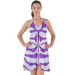 Skin2 White Marble & Purple Brushed Metal (r) Show Some Back Chiffon Dress