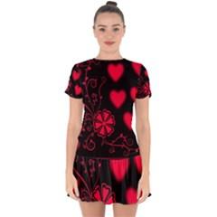 Background Hearts Ornament Romantic Drop Hem Mini Chiffon Dress