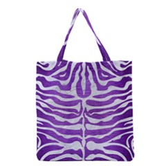 Skin2 White Marble & Purple Brushed Metal Grocery Tote Bag by trendistuff