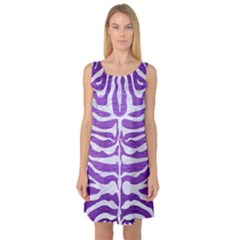Skin2 White Marble & Purple Brushed Metal Sleeveless Satin Nightdress