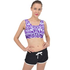 Skin2 White Marble & Purple Brushed Metal V Back Sports Bra