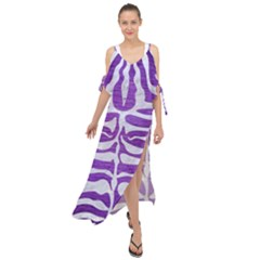 Skin2 White Marble & Purple Brushed Metal Maxi Chiffon Cover Up Dress
