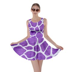 Skin1 White Marble & Purple Brushed Metal (r) Skater Dress