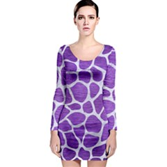 Skin1 White Marble & Purple Brushed Metal (r) Long Sleeve Bodycon Dress