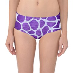 Skin1 White Marble & Purple Brushed Metal (r) Mid Waist Bikini Bottoms