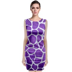 Skin1 White Marble & Purple Brushed Metal (r) Classic Sleeveless Midi Dress
