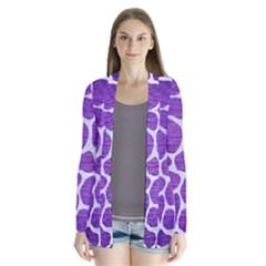 Skin1 White Marble & Purple Brushed Metal (r) Drape Collar Cardigan