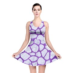 Skin1 White Marble & Purple Brushed Metal Reversible Skater Dress
