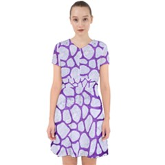 Skin1 White Marble & Purple Brushed Metal Adorable In Chiffon Dress