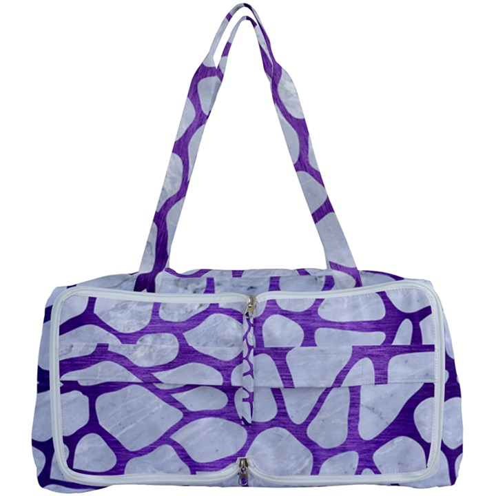 SKIN1 WHITE MARBLE & PURPLE BRUSHED METAL Multi Function Bag