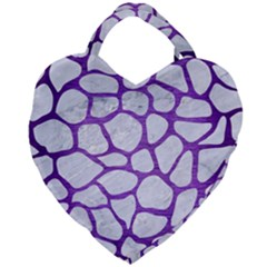 Skin1 White Marble & Purple Brushed Metal Giant Heart Shaped Tote