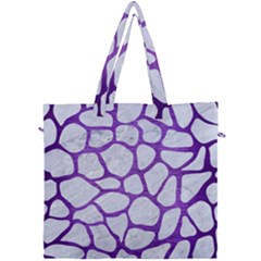 Skin1 White Marble & Purple Brushed Metal Canvas Travel Bag by trendistuff