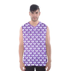 Scales3 White Marble & Purple Brushed Metal (r) Men s Basketball Tank Top