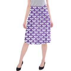 Scales3 White Marble & Purple Brushed Metal (r) Midi Beach Skirt