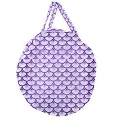 Scales3 White Marble & Purple Brushed Metal (r) Giant Round Zipper Tote
