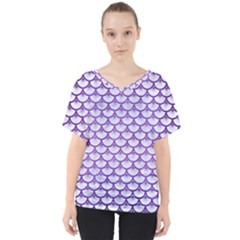 Scales3 White Marble & Purple Brushed Metal (r) V Neck Dolman Drape Top