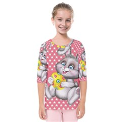 Illustration Rabbit Easter Kids  Quarter Sleeve Raglan Tee