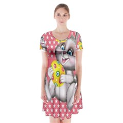 Illustration Rabbit Easter Short Sleeve V Neck Flare Dress