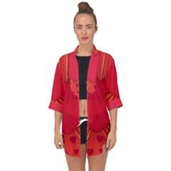 Background Texture Heart Love Open Front Chiffon Kimono