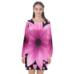 Flower Plant Floral Petal Nature Long Sleeve Chiffon Shift Dress