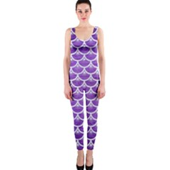 Scales3 White Marble & Purple Brushed Metal One Piece Catsuit