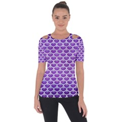 Scales3 White Marble & Purple Brushed Metal Short Sleeve Top