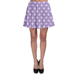 Scales2 White Marble & Purple Brushed Metal (r) Skater Skirt