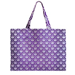 Scales2 White Marble & Purple Brushed Metal (r) Zipper Mini Tote Bag