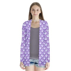 Scales2 White Marble & Purple Brushed Metal (r) Drape Collar Cardigan