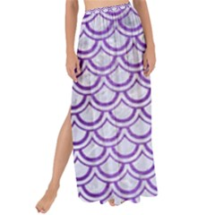 Scales2 White Marble & Purple Brushed Metal (r) Maxi Chiffon Tie Up Sarong