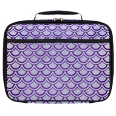 Scales2 White Marble & Purple Brushed Metal (r) Full Print Lunch Bag