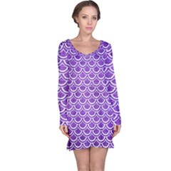 Scales2 White Marble & Purple Brushed Metal Long Sleeve Nightdress