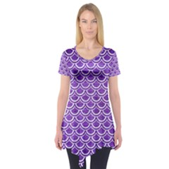 Scales2 White Marble & Purple Brushed Metal Short Sleeve Tunic