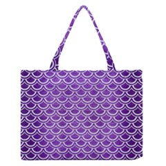 Scales2 White Marble & Purple Brushed Metal Zipper Medium Tote Bag