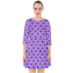 Scales2 White Marble & Purple Brushed Metal Smock Dress