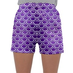 Scales2 White Marble & Purple Brushed Metal Sleepwear Shorts
