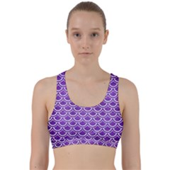 Scales2 White Marble & Purple Brushed Metal Back Weave Sports Bra