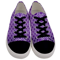 Scales2 White Marble & Purple Brushed Metal Men s Low Top Canvas Sneakers