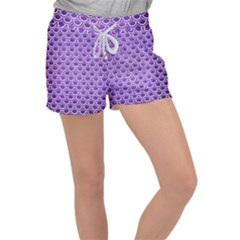 Scales2 White Marble & Purple Brushed Metal Women s Velour Lounge Shorts