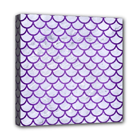 Scales1 White Marble & Purple Brushed Metal (r) Mini Canvas 8  X 8