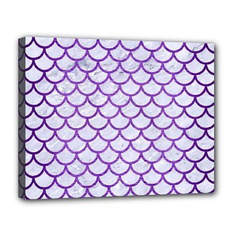 Scales1 White Marble & Purple Brushed Metal (r) Canvas 14  X 11