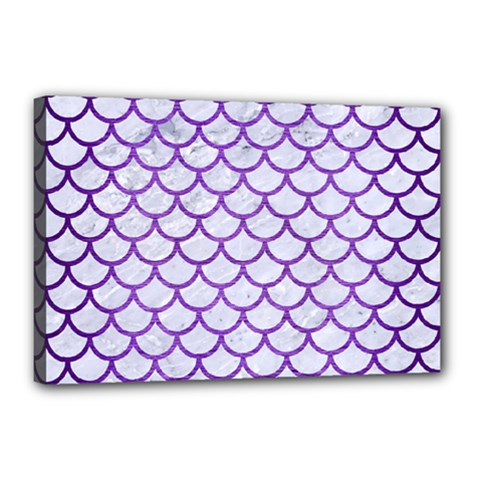 Scales1 White Marble & Purple Brushed Metal (r) Canvas 18  X 12