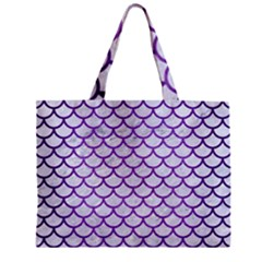 Scales1 White Marble & Purple Brushed Metal (r) Zipper Mini Tote Bag