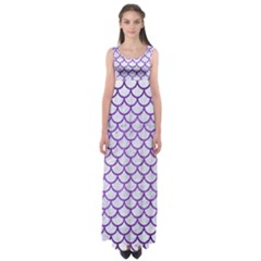 Scales1 White Marble & Purple Brushed Metal (r) Empire Waist Maxi Dress