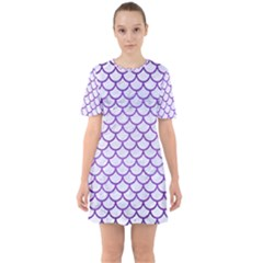 Scales1 White Marble & Purple Brushed Metal (r) Sixties Short Sleeve Mini Dress