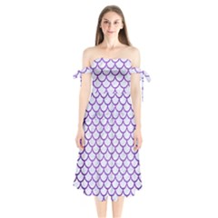 Scales1 White Marble & Purple Brushed Metal (r) Shoulder Tie Bardot Midi Dress